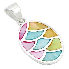 Multi color blister pearl enamel 925 sterling silver pendant a85450 c14482
