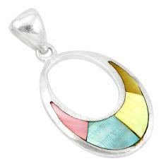 Multi color blister pearl enamel 925 sterling silver pendant a85452 c14483