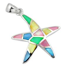 4.48gms multi color blister pearl enamel silver star fish pendant a88583 c14475