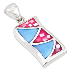 Multi color blister pearl enamel sterling silver pendant jewelry a69695 c14458