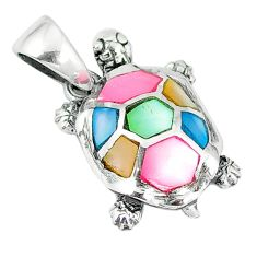 Multi color blister pearl enamel sterling silver turtle pendant a55477 c14487
