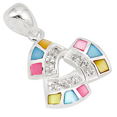 Multi color blister pearl topaz enamel 925 sterling silver pendant a75750 c14622