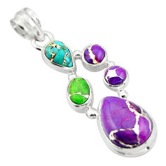 10.84cts multi color copper turquoise 925 sterling silver pendant jewelry r20428