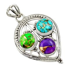 9.04cts multi color copper turquoise 925 sterling silver pendant jewelry r32391