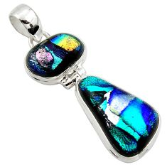 18.15cts multi color dichroic glass 925 sterling silver pendant jewelry r39701