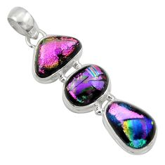 17.42cts multi color dichroic glass 925 sterling silver pendant jewelry r39841