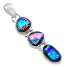 12.62cts multi color dichroic glass 925 sterling silver pendant jewelry r39843