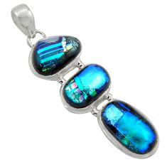 22.44cts multi color dichroic glass 925 sterling silver pendant jewelry r39845