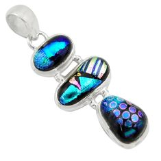 16.54cts multi color dichroic glass 925 sterling silver pendant jewelry r39847