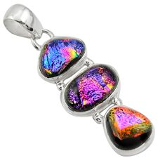16.06cts multi color dichroic glass 925 sterling silver pendant jewelry r39850