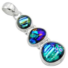 14.47cts multi color dichroic glass 925 sterling silver pendant jewelry r39851