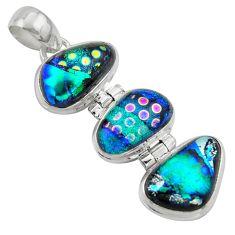 19.27cts multi color dichroic glass 925 sterling silver pendant jewelry r39853