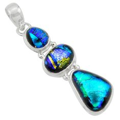 15.02cts multi color dichroic glass 925 sterling silver pendant jewelry r39854
