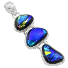 18.31cts multi color dichroic glass 925 sterling silver pendant jewelry r39855