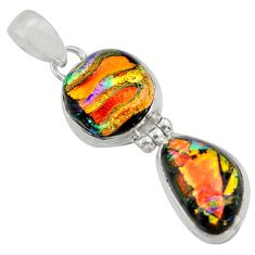 14.47cts multi color dichroic glass 925 sterling silver pendant jewelry r39862