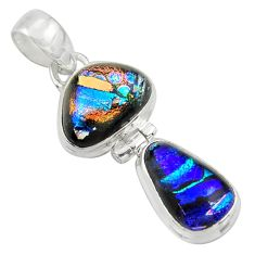 13.15cts multi color dichroic glass 925 sterling silver pendant jewelry r39867