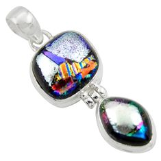 16.73cts multi color dichroic glass 925 sterling silver pendant jewelry r39869