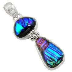 15.62cts multi color dichroic glass 925 sterling silver pendant jewelry r39870