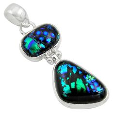 16.54cts multi color dichroic glass 925 sterling silver pendant jewelry r39875