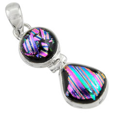 13.15cts multi color dichroic glass 925 sterling silver pendant jewelry r39879