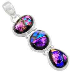 15.41cts multi color dichroic glass 925 sterling silver pendant jewelry r39890