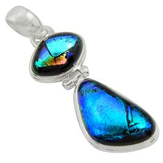 15.08cts multi color dichroic glass 925 sterling silver pendant jewelry r39893