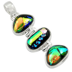 17.95cts multi color dichroic glass 925 sterling silver pendant jewelry r39896