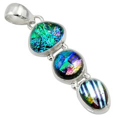 13.66cts multi color dichroic glass 925 sterling silver pendant jewelry r39898