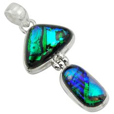 16.87cts multi color dichroic glass 925 sterling silver pendant jewelry r39899