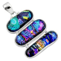 30.35cts multi color dichroic glass 925 sterling silver pendant jewelry r49922