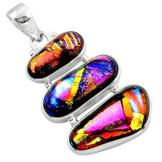 21.48cts multi color dichroic glass 925 sterling silver pendant jewelry r49934