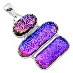 28.08cts multi color dichroic glass 925 sterling silver pendant jewelry r49938