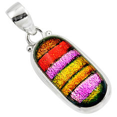 13.10cts multi color dichroic glass 925 sterling silver pendant jewelry r49943