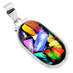 15.05cts multi color dichroic glass 925 sterling silver pendant jewelry r49945