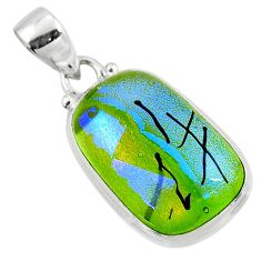 15.05cts multi color dichroic glass 925 sterling silver pendant jewelry r49947