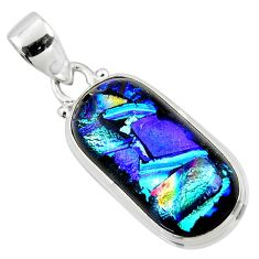 13.70cts multi color dichroic glass 925 sterling silver pendant jewelry r49948