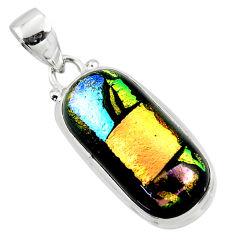 14.23cts multi color dichroic glass 925 sterling silver pendant jewelry r49952