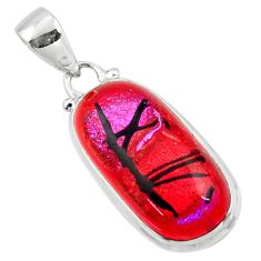 14.23cts multi color dichroic glass 925 sterling silver pendant jewelry r49954