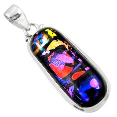 18.70cts multi color dichroic glass 925 sterling silver pendant jewelry r49958