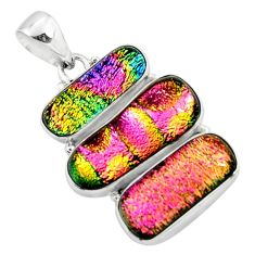 25.00cts multi color dichroic glass 925 sterling silver pendant jewelry r50871