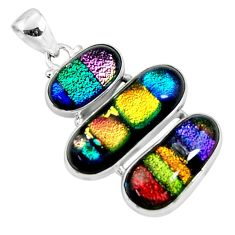 24.46cts multi color dichroic glass 925 sterling silver pendant jewelry r50872