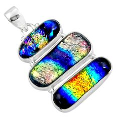 22.59cts multi color dichroic glass 925 sterling silver pendant jewelry r50875