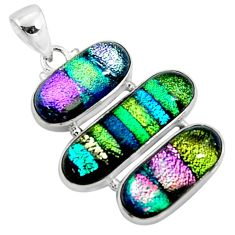 25.57cts multi color dichroic glass 925 sterling silver pendant jewelry r50876