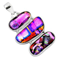 25.57cts multi color dichroic glass 925 sterling silver pendant jewelry r50878