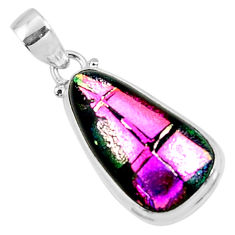 15.08cts multi color dichroic glass 925 sterling silver pendant jewelry r50919