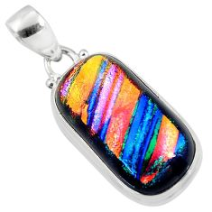 15.08cts multi color dichroic glass 925 sterling silver pendant jewelry r51228