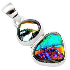 11.25cts multi color dichroic glass 925 sterling silver handmade pendant t1101