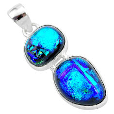 16.06cts multi color dichroic glass 925 sterling silver handmade pendant t1107