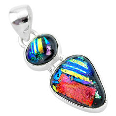 11.55cts multi color dichroic glass 925 sterling silver handmade pendant t1108