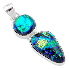 16.49cts multi color dichroic glass 925 sterling silver handmade pendant t1110